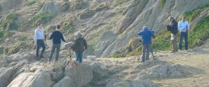 The Countryfile team filming on Alderney's South cliffs